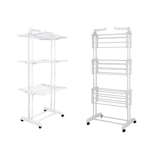 Tendedero plegable para ropa móvil, tendedero de 4 niveles, 4 ruedas, alas laterales, tubos de acero inoxidable con espacio para almacenamiento de zapatos (blanco)