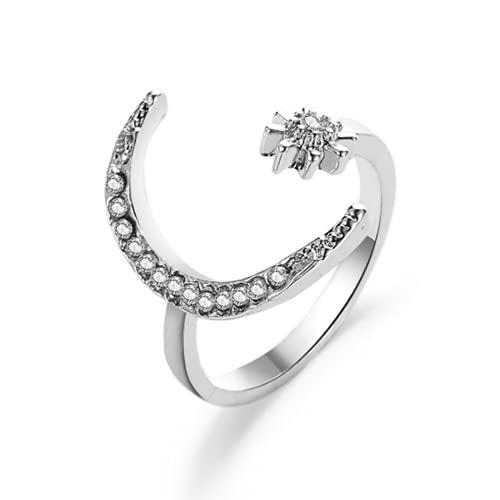 Yienate Anillo bohemio vintage de diamantes de imitación para nudillos de cristal de luna y estrella, anillo de dedo con índice de diseño único para mujeres y adolescentes (plata)