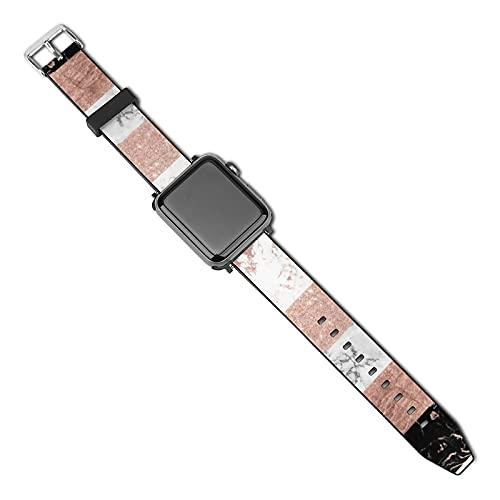Compatible con Apple Watch Band 38 mm 40 mm, moderno bloque de color oro rosa con rayas de mármol, correa de repuesto de silicona suave, compatible con iWatch Series 5 4 3 2 1