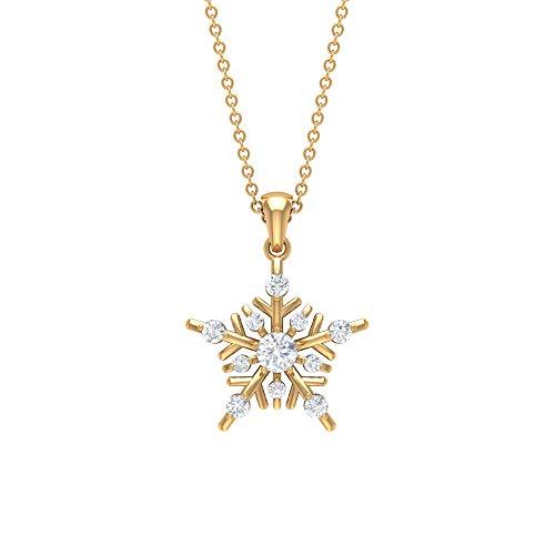 Colgante de copo de nieve de moissanita de 1/3 quilates, collar de copo de nieve de oro blanco