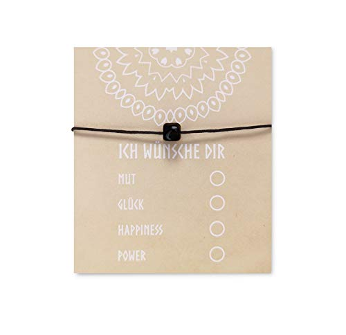 NIMBIM Armband mit Karte zum verschenken Geschenkideen Freunde Beste Freundin BFF Abschiedsgeschenk Kollegen Glücksarmband mit Stein Wunscharmband (Black)