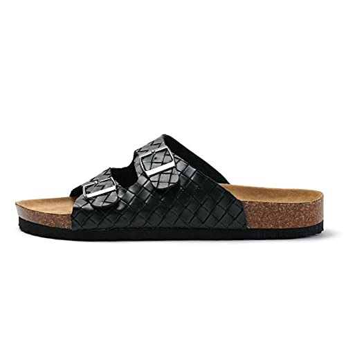 COQUI Slippers Mujer,2021 Nuevo Primavera Summer Cork Slippers Hombres Pareja Tejido Playa de Mujer Zapatos Estudiantes Ocio Cross-Border-Negro_42