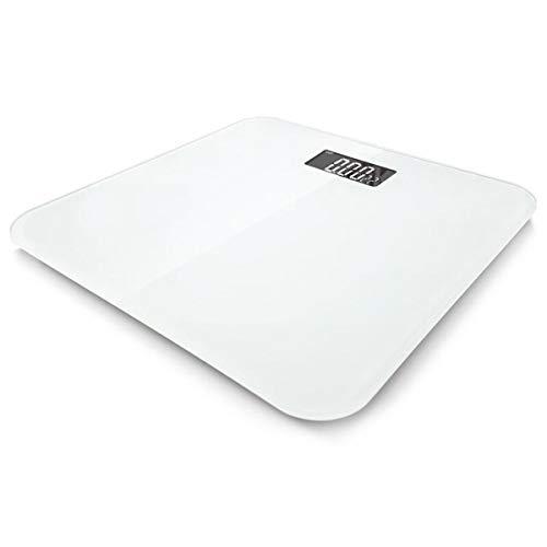 LLRDIAN Básculas de baño de Peso Digital de Alta precisión con tecnología Paso a Paso, Que Incluyen Cinta de medición volumétrica, 28st / 180kg / 400lb, Pantalla retroiluminada (Color : White)
