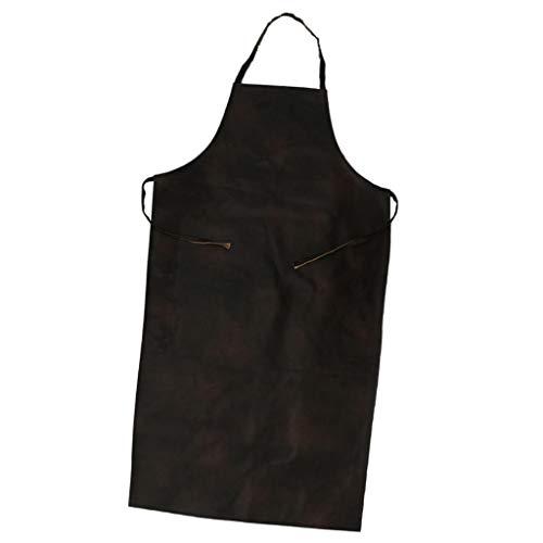 SM SunniMix Unisex Schürze Wasserfest Kochschürze Grillschürze Backschürze Kochenschürze Kellner Kellnerin Uniform aus Kunstleder - Schwarz 116x65cm