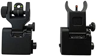 YUSHOP Fiber Optics FlipUp Front&Rear Sights w/Red & Green Dots Picatinny/Weaver Mount
