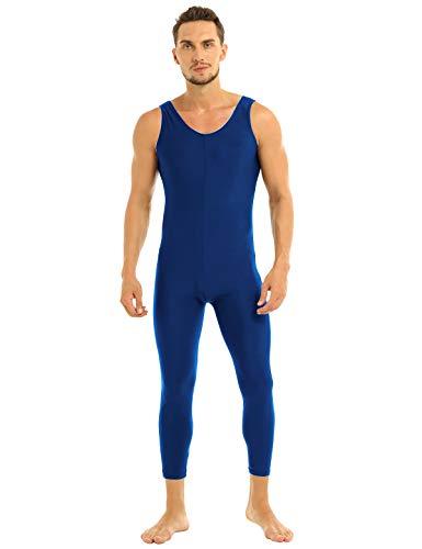 renvena Men Spandex Sleeveless Full Body Skin-Tight Unitards Bodysuit Catsuit Dance Costume Navy Blue Large