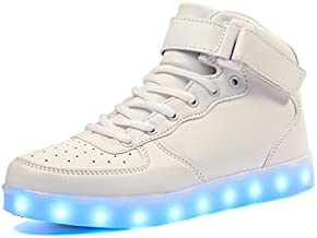 Voovix Unisex LED Shoes Light Up Shoes High Top Sneakers for Women Men white39
