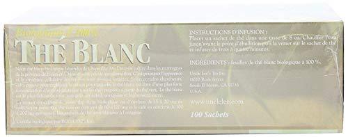 Uncle Lee's Tea Organic White Tea, Tea Bags, 100-Count Boxes (Pack of 4)