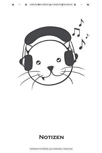 Musik Kopfhörer Katze Notizbuch: Liniertes Notizbuch für Katzen- und Tierfreunde