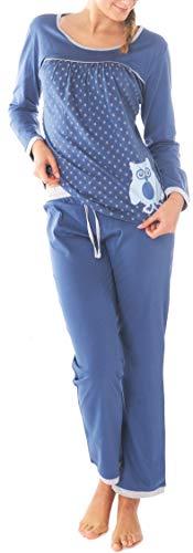 Damen Pyjama Schlafanzug Baumwolle Langarm SUN7 UHU 48/50