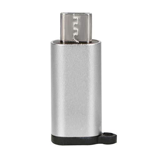 DBSUFV Mini Adaptador portátil de Aluminio USB-C a Micro USB con Llavero Conector de conversión de USB Tipo C a Micro USB Anti-pérdida