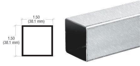 CRL Brushed Stainless Partition Post Sneeze Guard Square Tubing - 236 in Long