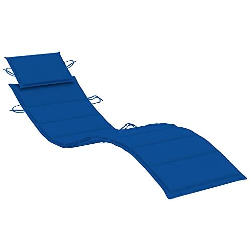 vidaXL Cojín para Tumbona Asiento Silla Sofá Jardín Patio Terraza Balcón Muebles Mobiliario Exterior Acolchado Grueso Azul Royal 186x58x4 cm