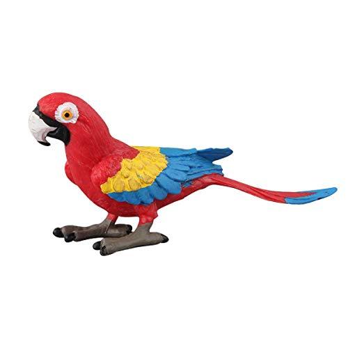 TOYANDONA Loro Artificial Decoración Estatua de pájaro Pájaro Loro Rojo Juguete Decoración de Escritorio