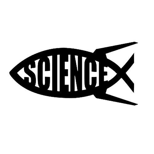 ZCZWQ Stickers Science Jesus fish into the Shen Dalwin big explosion religion PVC car decoration label sticker black/white, 20cm * 10cm car stickers funny (Color : Black)