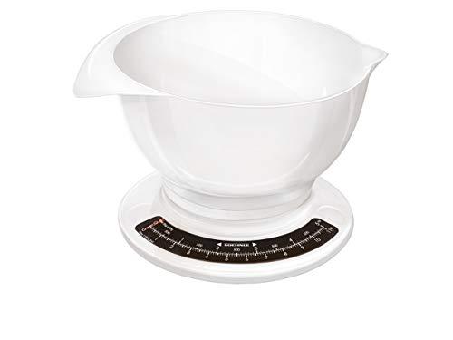 Soehnle Culina Pro 5 kg, analoge Küchenwaage, weiß, Gewicht bis zu 5 kg (50-g-genau), Haushaltswaage mit großer Rührschüssel, Küchenwaage retro für Kuchen und weiteres