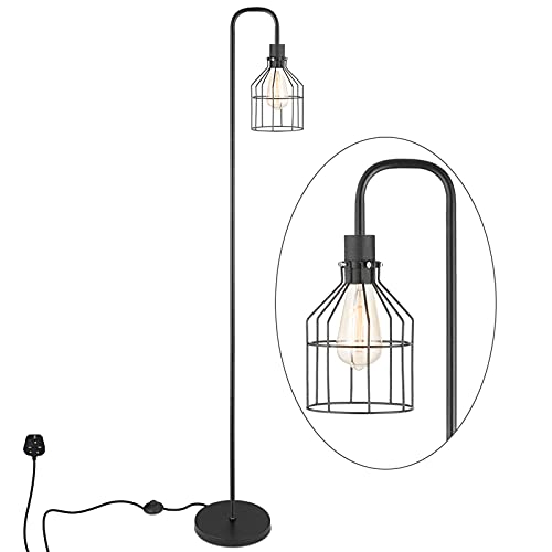 Industrial Frosted Black Floor Lamp with Cage Lampshade, On-Off Switch, Modern Indoor Pole Light for Bedroom, Living Room, Study Room or Offices (Black)