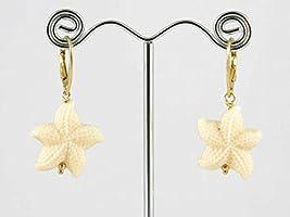Orecchini in argento dorato con stelle marine di resina bianca