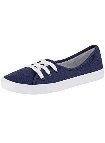oodji Ultra Donna Sneakers Basic di Tela, Blu, 37 EU / 4 UK