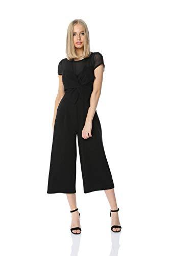 Roman Originals - Mono de mujer de pierna ancha recortada, elástico, elegante, de los años 40, todo en uno, con lazo, manga corta, cuello redondo, color negro, talla 12