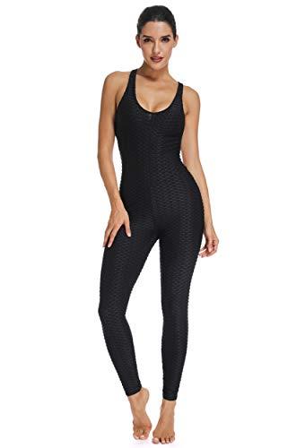 FITTOO Tuta Sportiva da Donna Leggings Slim Abbigliamento Sportivo Pantaloni da Yoga Vita Alta Anti-Cellulite Sexy per Fitness Sport Palestra Yoga Jumpsuit, S, Nero