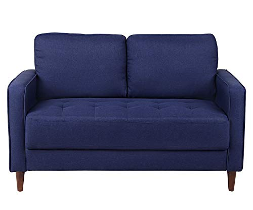 Loveseat Sofa Couch for Living Room Sofas and Couches with Pillowed Back Cushions Durable Modern Upholstered Fabric Futon Couch (Blue)