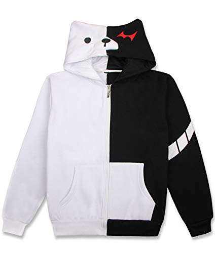 Coslover Danganronpa Monokuma Black White Bear Hoodies Zipper Unisex Jacket Cosplay Costume Sweatshirts with a Slash 2XL
