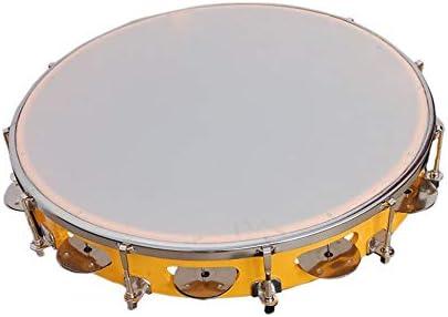 Tijarat Online Store Tambourine/Fibre Dafli 10 inch Hand Percussion Musical Instrument (Yellow, Random Colour)