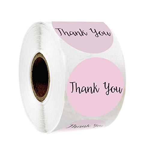"""Thank You Sticker Label 1.5"""" Round Pink Color Design 500 Stickers per roll for Appreciation, Wedding Favors, Birthdays, Baby Shower and Small Business Owners …"""