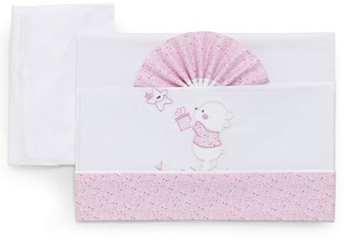 Italbaby 015.3010-0101 completo di lenzuoline ricamate per carrozzina 3 pezzi bear rosa