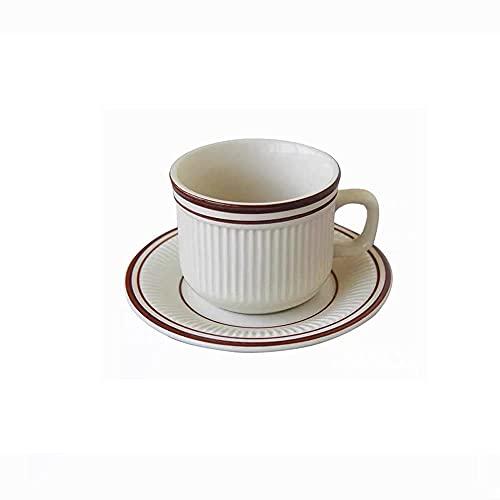 FHISD Tazas de café Juego de Tazas de té Línea de Simplicidad Coreana Taza de café Taza de Avena Adecuado para cafetería Regalo Hostel Taza de Barista Tazas de café 180 ml