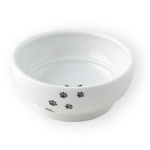 猫壱 フードボウル 猫柄 陶器食器二段かえしでドライもウェットも食べやすい