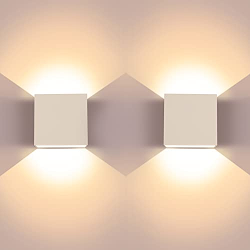 LED Wall Light Bedroom,2 Pcs Indoor Modern Wall Wash Lights,Up and Down Wall Lamp with Long Life Energy Saving LED,Suitable for Living Room,Bedroom and Hallway,Warm White