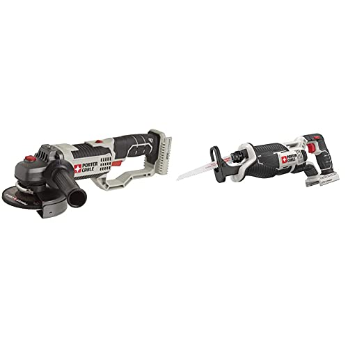 PORTER-CABLE 20V MAX Angle Grinder Tool, 4-1/2-Inch, Tool Only (PCC761B) & 20V MAX Reciprocating Saw, Tool Only (PCC670B)