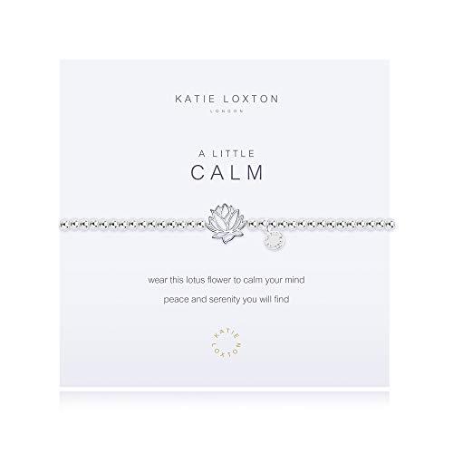 Katie Loxton A Little Calm Lotus Flower Silver Women's Stretch Adjustable Charm Bangle Bracelet