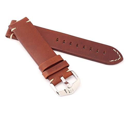HIRSCH Ranger - Correa para Reloj de Hombre (Piel de Ternero, 22 mm), Color marrón Dorado