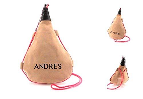 Bota de vino personalizada, recta. 1 Litro. Realizada en Piel de serraje. Cantimplora de piel.