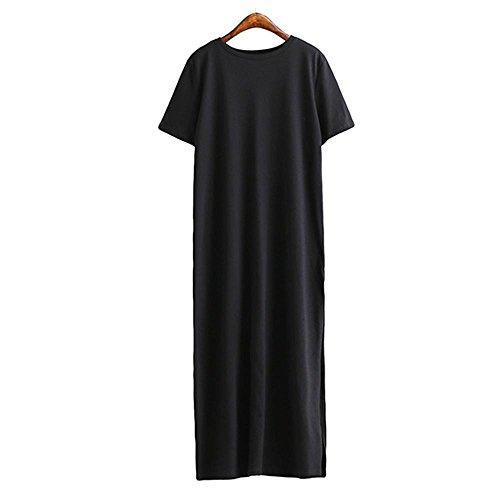 SYT Dress T-Shirt Kleid Frauen Sommer Strand Sexy Kim KardashianKyliejenner Leinen Boho Long Black Bodycon Kleider, M, schwarz