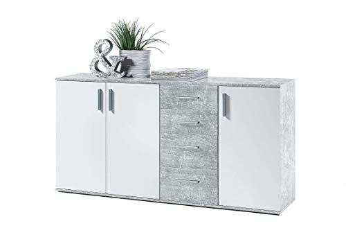 AVANTI TRENDSTORE - BEA - Comò e cassettiere, in Legno Laminato e Bianco, Disponibile in 2 Diversi Colori e 3 Diverse Dimensioni (Marrone-Bianco, 160x82x35 cm) (Cemento Bianco)