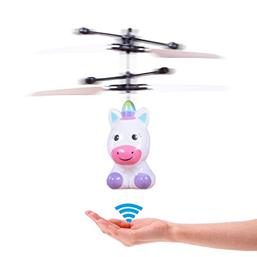 PALA PERRA RC Helicopter Flying Toys with Rechargeable Mini Infrared Induction Drone, RC Toys for Kids Boys Girls Indoor Games (Flying Unicorn