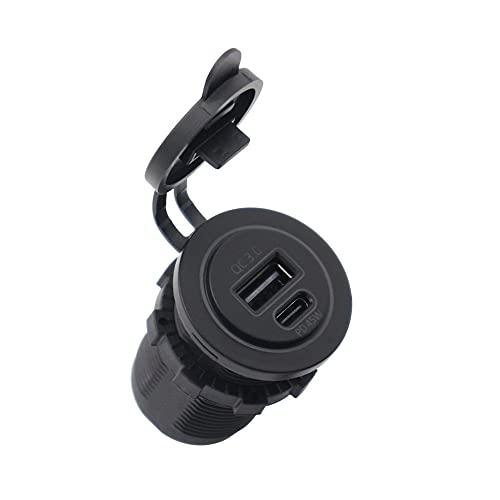 Tree-es-Life Carga rápida 3.0 PD Conector de Cargador USB Salida USB a Prueba de Agua QC 3.0 Enchufe de Cargador Tipo C Interfaz Kit de Bricolaje para automóvil Negro 50.2 * 36.6 * 36.6 mm