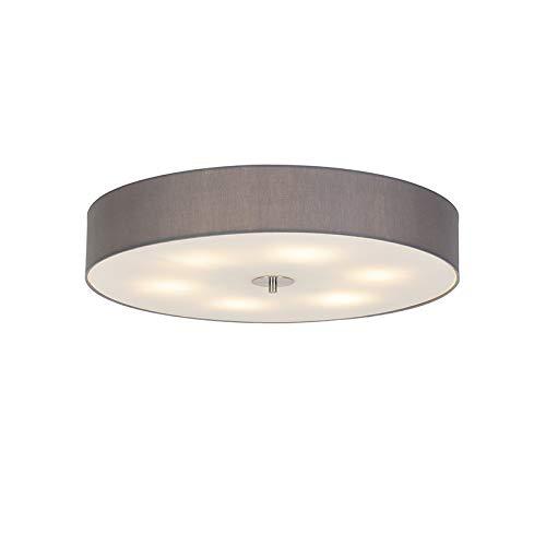 QAZQA - Modern Country Deckenleuchte   Deckenlampe   Lampe   Leuchte grau 70 cm - Drum mit Schirm   Wohnzimmer   Schlafzimmer   Küche - Textil Rund - LED geeignet E27