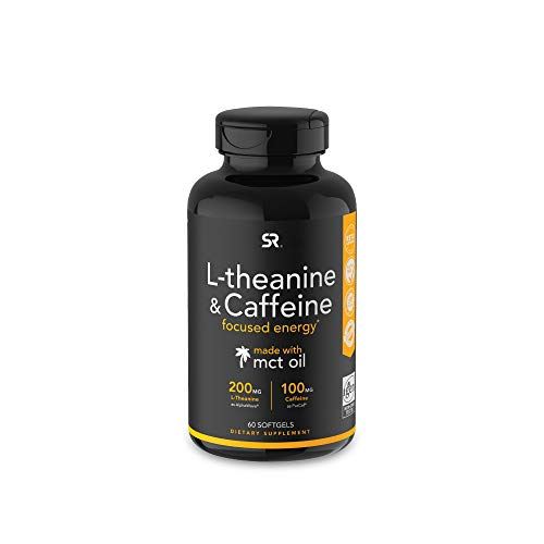 L-Theanine & Caffeine with Coconut MCT Oil ~ Nootropic Supplement for Focused Energy ~ Keto Certified & Non-GMO Verified (60 Softgels)