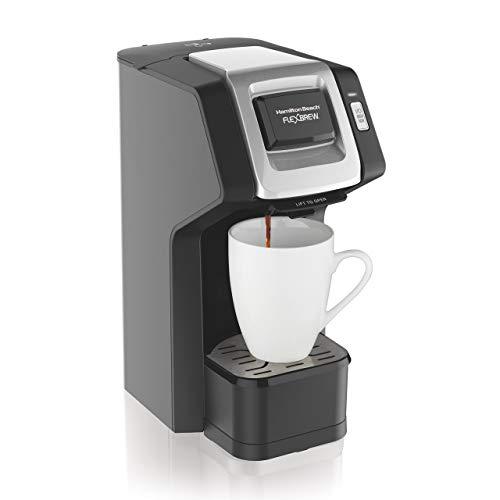 Hamilton Beach (49974) Single Serve Coffee Maker,Compatible withpod Packs and Ground Coffee, Flexbrew, Black (Renewed)