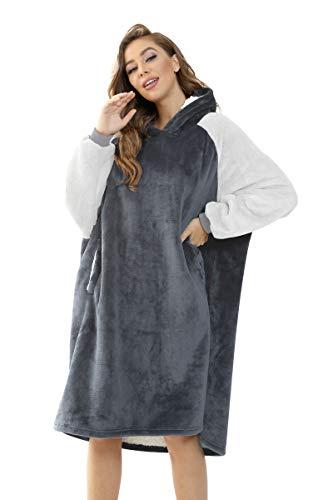 RAISEVERN Pullover Sweatshirt Mit Kapuze Robe Decke Hoodie Decke Sweatshirt Flanell Hoodies Grau