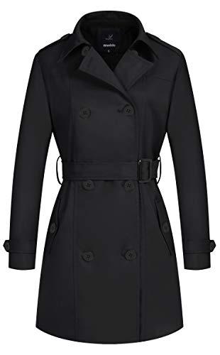 Wantdo Damen Zweireihige Knopfverschlüsse Mäntel Mittellang Slim Fit Jacke Elegant Longsleeve Jacke Dünn Winter Cabanjacke Schwarz XL