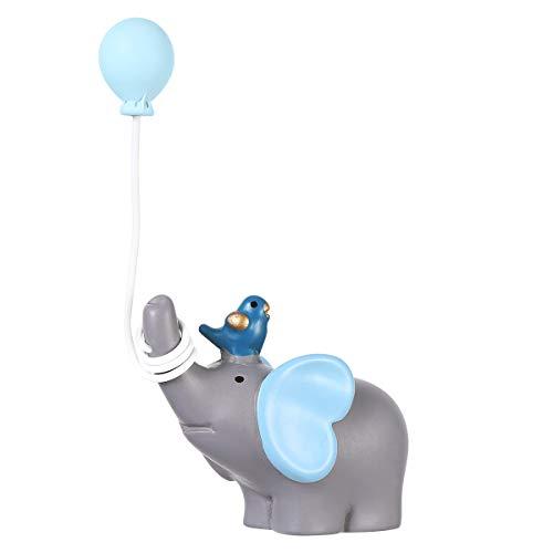 YeahiBaby Harz Kuchen Dekoration Elefant mit Ballons für Hochzeit Geburtstag Torten Verzierung (Blau)