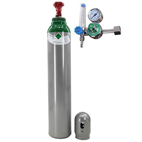 Gasflasche mit Minderer Reines 4.8 Argon (100%) Schweißgas 8 Liter TIG/WIG MIG