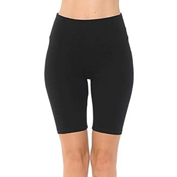 Women's High Waist Bike Short 92% Cotton Workout Short  Black Medium