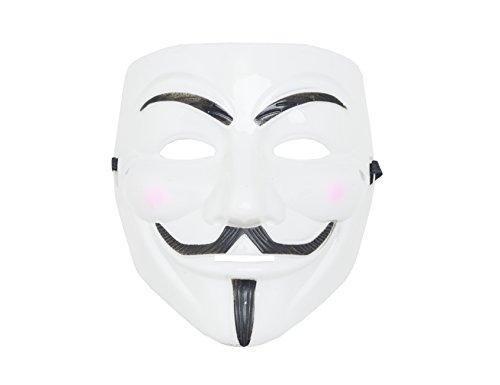 shenky Masken für Fasching Karneval Halloween Anonymous Vendetta (Vendetta Weiß)